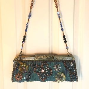 Mary Frances blue Jeweled evening bag with strap